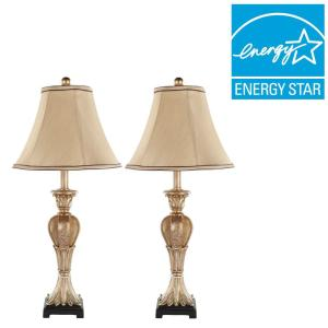 Safavieh Patrizia 25 inch Gold Table Lamp with Beige Shade (Set of 2) by Safavieh