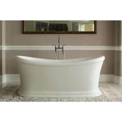 Serene 5.58 ft. Acrylic Double Slipper Style Flat Bottom Non-Whirlpool Bathtub in White