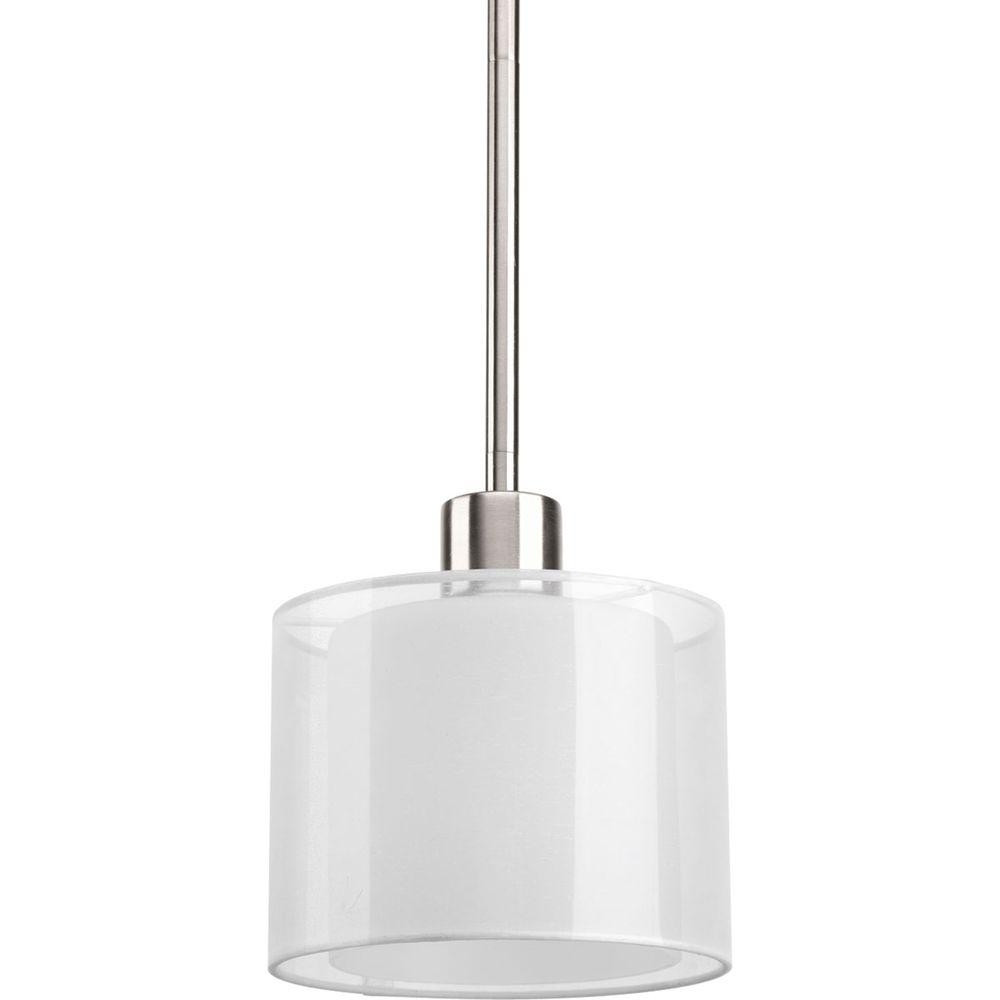 Beautiful Progress Lighting Invite Collection 1 Light Brushed Nickel Mini Pendant P5110 09    The Home Depot
