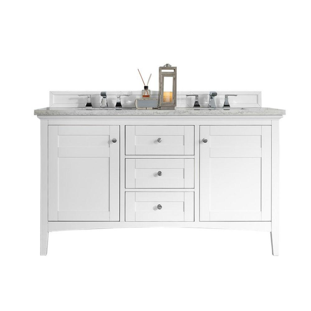 Palisades 60 In W Double Vanity Bright White With Quartz Top Snow Basin