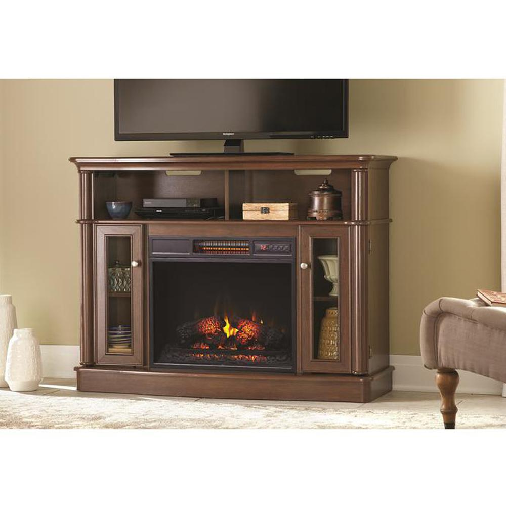Provide a seasonal enjoyment with this Home Decorators Collection Tolleson Media Console Infrared Bow Front Electric Fireplace in Mocha.