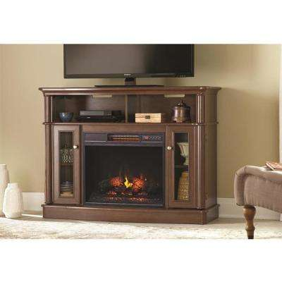 Tolleson 48 in. Media Console Infrared Bow Front Electric Fireplace in Mocha