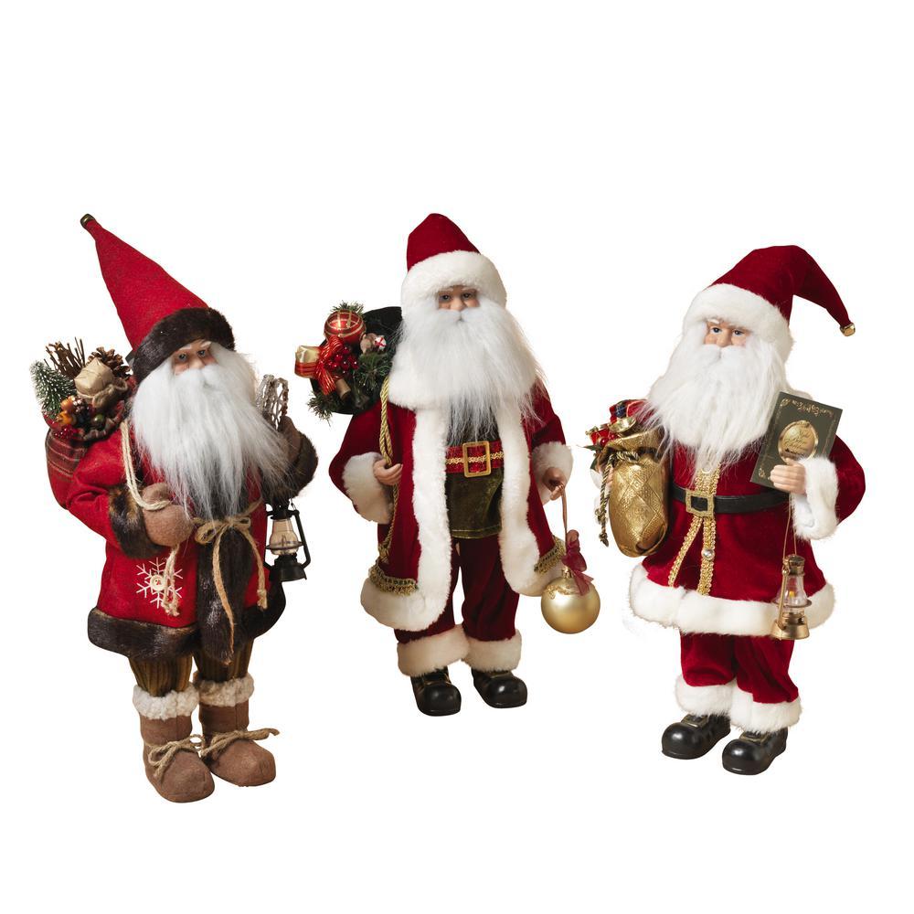 S/3 Asst 18 in. H Santa Figurines
