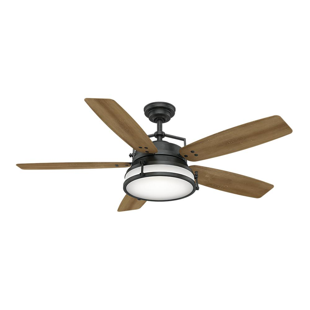 Caneel Bay 56 in. LED Indoor/Outdoor Aged Steel Ceiling Fan with