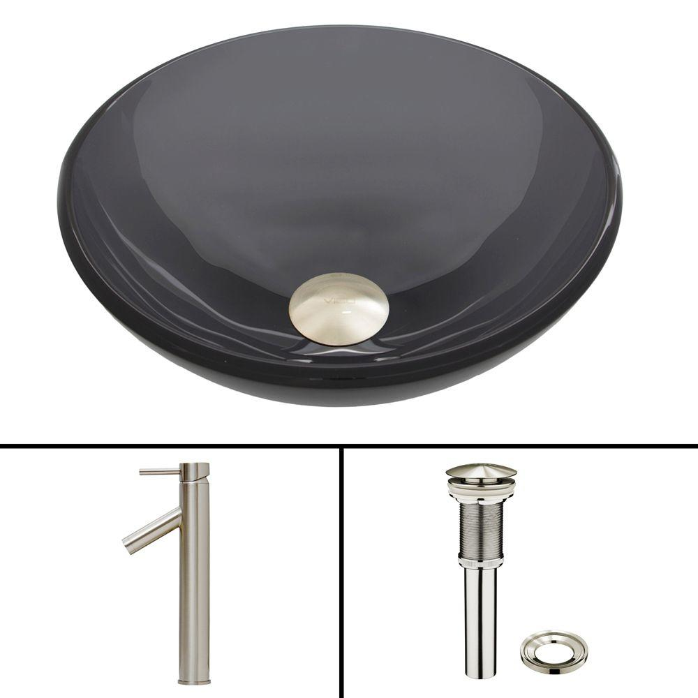 VIGO Glass Vessel Sink in Sheer Black and Dior Faucet Set in Brushed Nickel