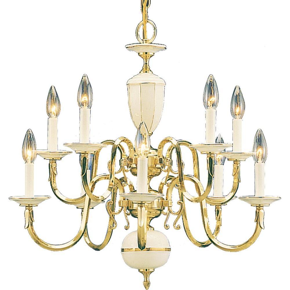 Volume Lighting 10-Light Polished Solid Brass Chandelier - Volume Lighting 10-Light Polished Solid Brass Chandelier-V3910-0