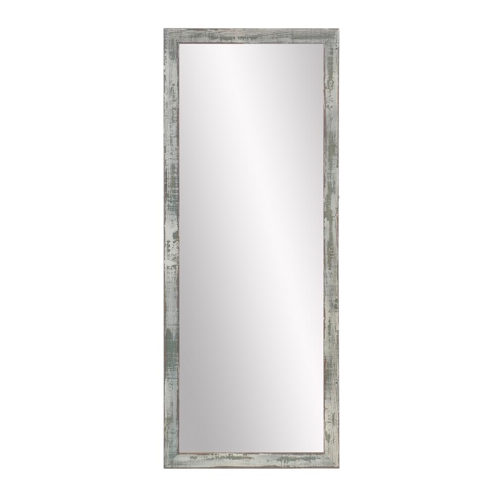 Rustic Texture Wood Sage Floor Mirror