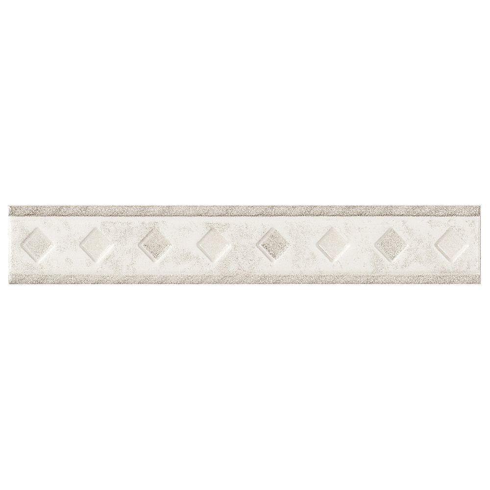 U.S. Ceramic Tile Fresno 10 in. x 1-5/8 in. Blanco Ceramic Listel Wall Tile-DISCONTINUED