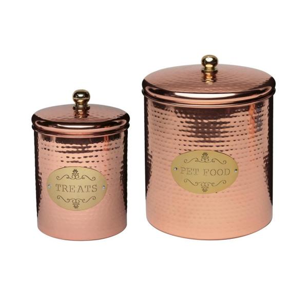 Amici Home Copper Spaniel Assoted Size Metal Pet Treats Canister (2-Pack)