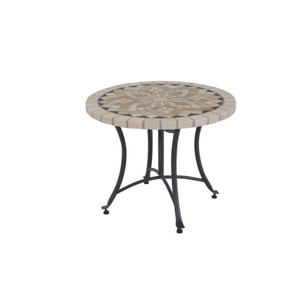 Metal and Stone Outdoor Accent Table