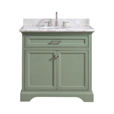 Home Decorators Collection Windlowe 37 in. W x 22 in. D x 35 in. H Bath Vanity in Green with Carrera Marble Vanity Top in...