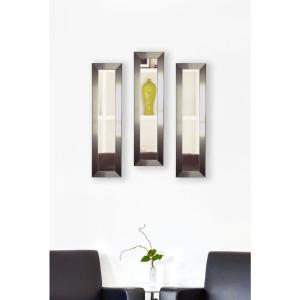 10 inch x 28 inch Silver Petite Mirror (Set of 3-Panels) by