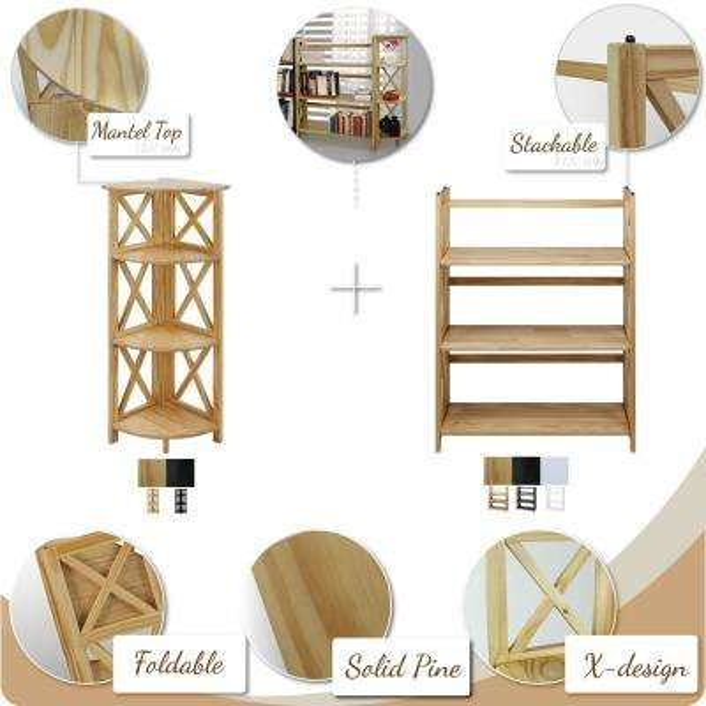X-Design Black 3-Shelf Folding Bookcase