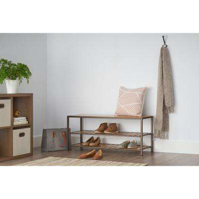10-Pair Bamboo Bench and Shoe Organizer