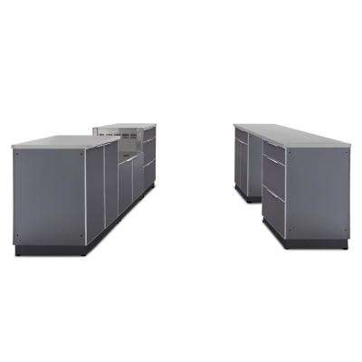 Slate Gray 9-Piece 192 in. W x 36.5 in. H x 24 in. D Outdoor Kitchen Cabinet Set