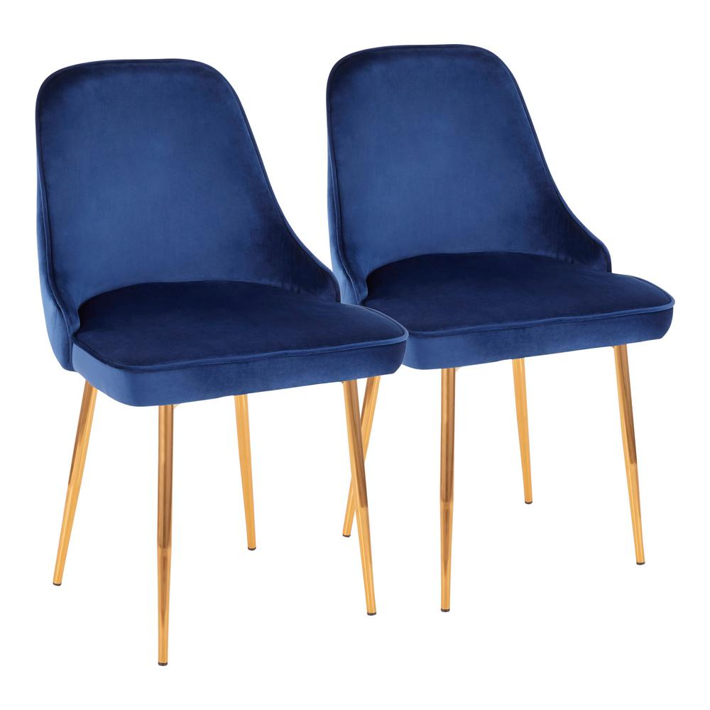 Lumisource Marcel Navy Blue Velvet And Gold Dining Chair Set Of 2 Dc Marcl Au Nb2 The Home Depot