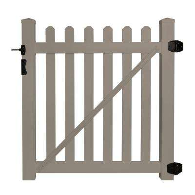 Cheyenne 4 ft. W x 4 ft. H Khaki Vinyl Picket Fence Gate EZ Pack