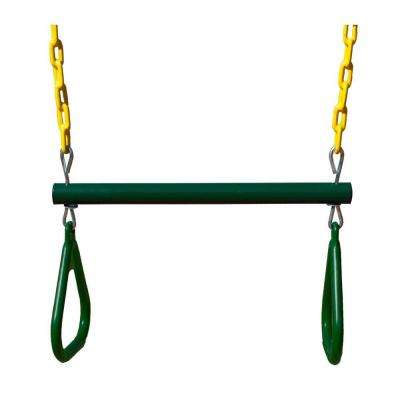 17 in. Trapeze Bar with Rings in Green/Yellow