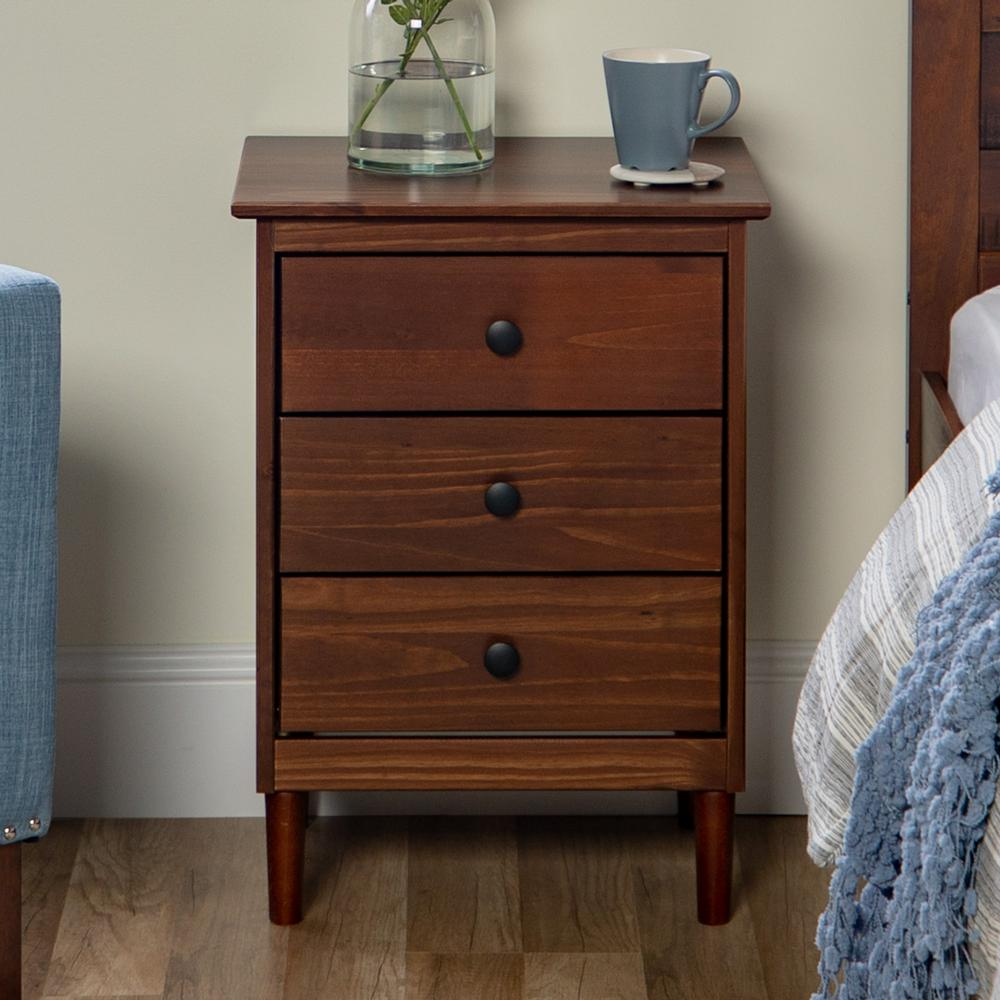Classic mid century modern 3 drawer walnut solid wood nightstand