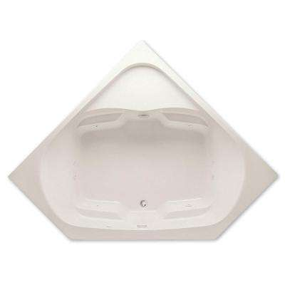 Cavalcade 60 in. Acrylic Center Drain Corner Drop-In Soaking Bathtub in Biscuit