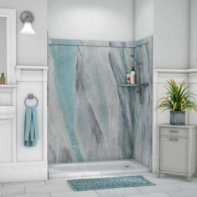Royale 36 in. x 60 in. x 80 in. 11-Piece Easy Up Adhesive Alcove Bathtub/Shower Wall Surround in Triton