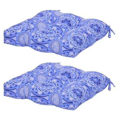 Geometric Periwinkle Medallion Attached Ties Outdoor Cushions