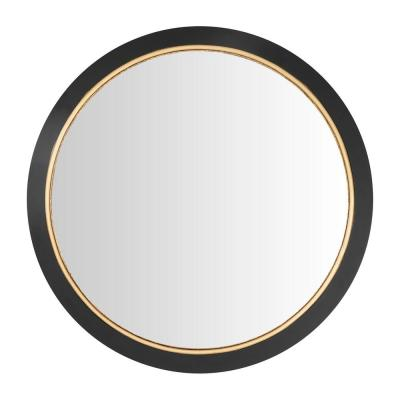 Medium Round Black & Gold Convex Classic Accent Mirror (28 in. Diameter)
