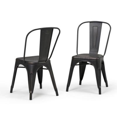 Fletcher Industrial Metal Dining Side Chair (Set of 2) in Distressed Black, Copper
