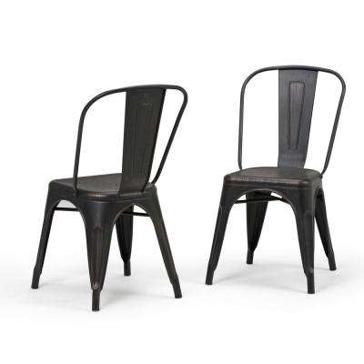 Fletcher Distressed Black and Copper Metal Dining Side Chair (Set of 2)