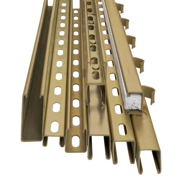 Superstrut 10 Ft 12 Gauge Half Slotted Metal Framing Strut Channel Gold Galvanized Za1200hs 10 The Home Depot