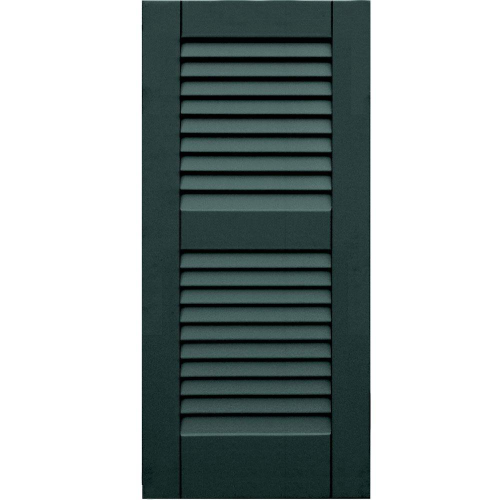 Winworks Wood Composite 15 in. x 33 in. Louvered Shutters Pair #638 Evergreen