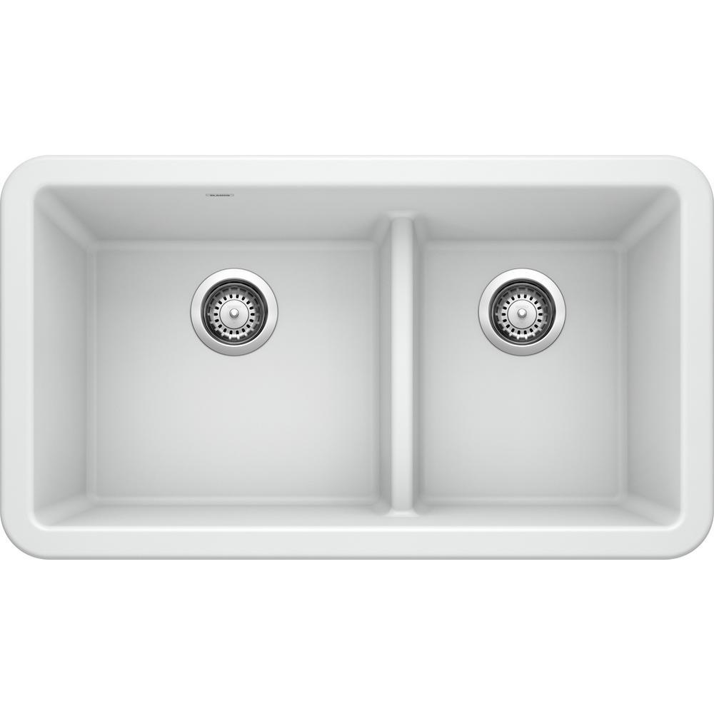 Ikon White Granite 33 in. Double Bowl Farmhouse Apron Kitchen Sink