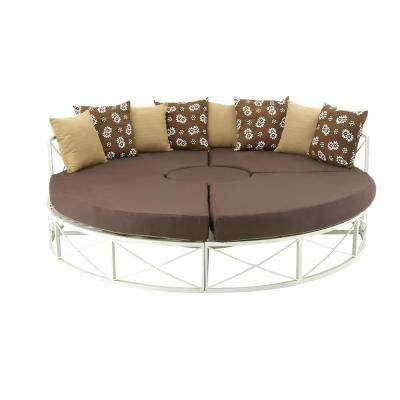 Matte White Cushioned Daybed Chaise Lounge with Brown Fabric Cover and Pillows