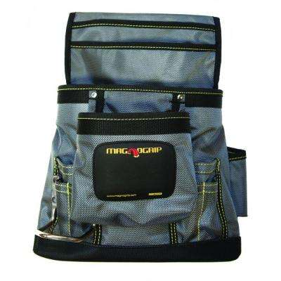 11 in. 10-Pocket Magnetic Tool Pouch with Belt, Platinum