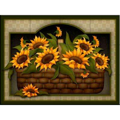 Sunflower Basket 24 in. x 18 in. Ceramic Mural Wall Tile
