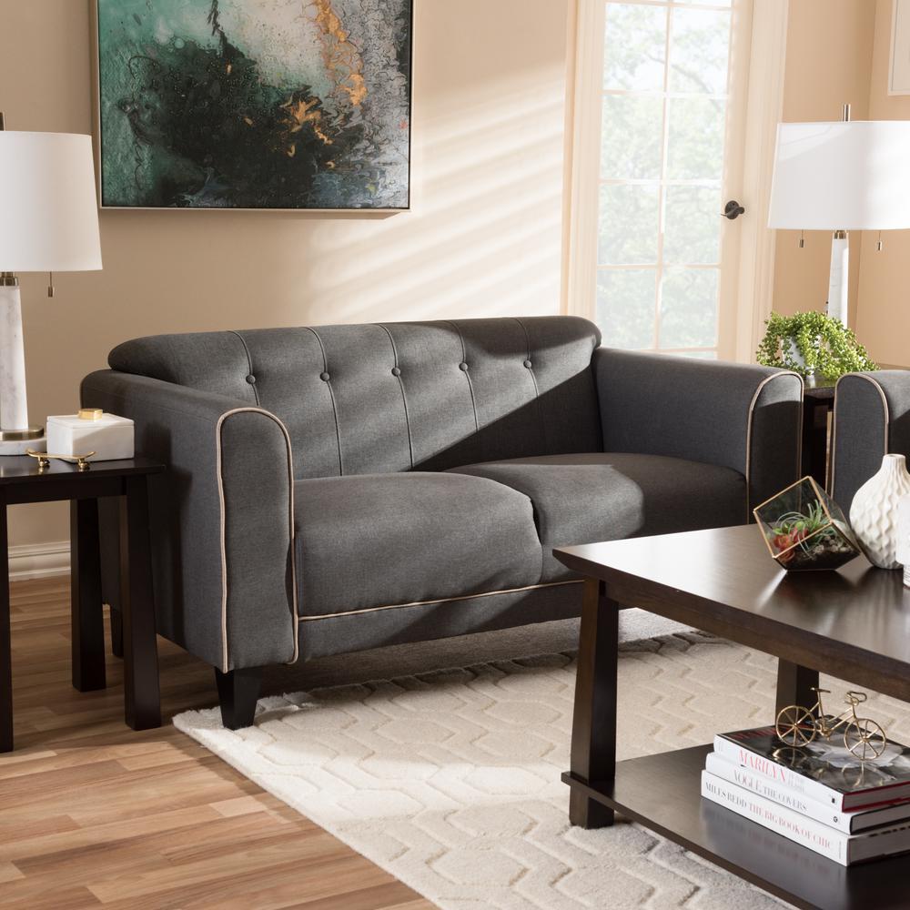 Etonnant Baxton Studio Lottie 2 Seater Gray Fabric Upholstered Loveseat