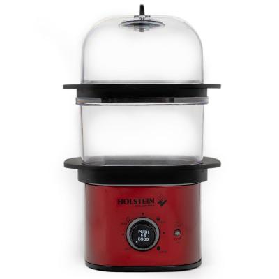 8-Egg Metallic Red and Black 2-Tier Egg Cooker