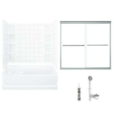 Ensemble 42 in. x 60 in. x 72.5 in. Bath and Shower Kit with Right-Hand Drain in White and Chrome