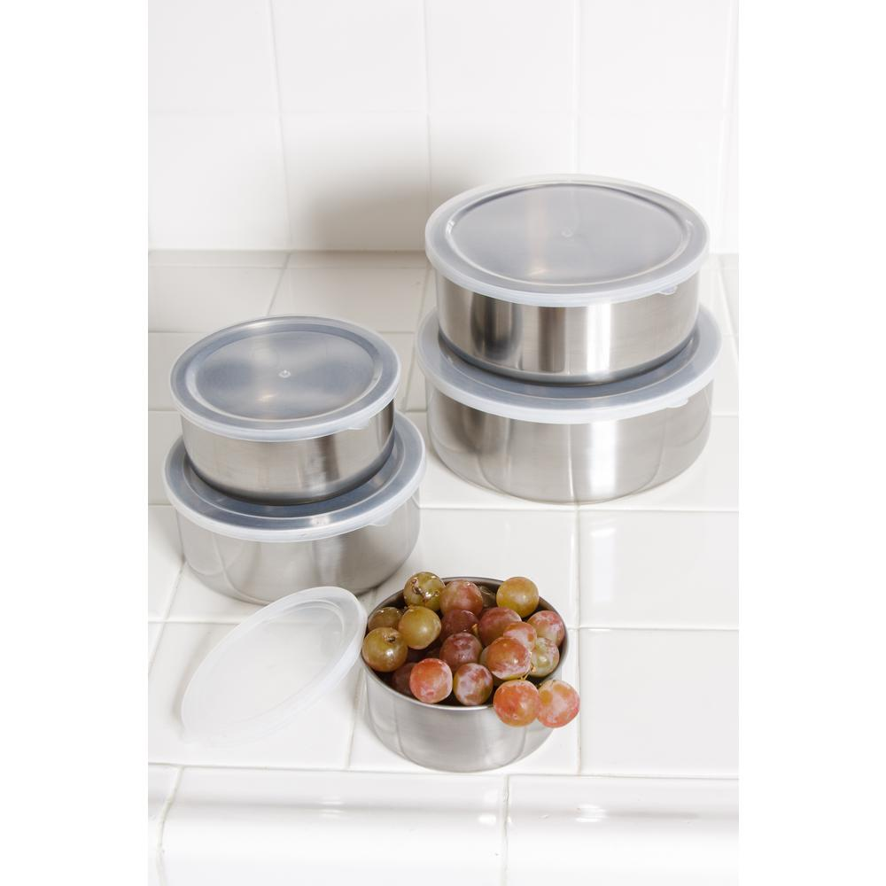 10-Piece Stainless Steel Food Storage Containers with Lids Set
