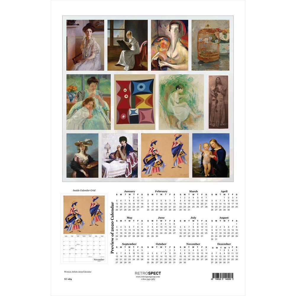 19 in. x 12.5 in. Women Artists - 2019 Calendar