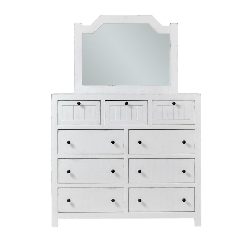 Elmhurst 9-Drawer Cotton White Dresser with Mirror