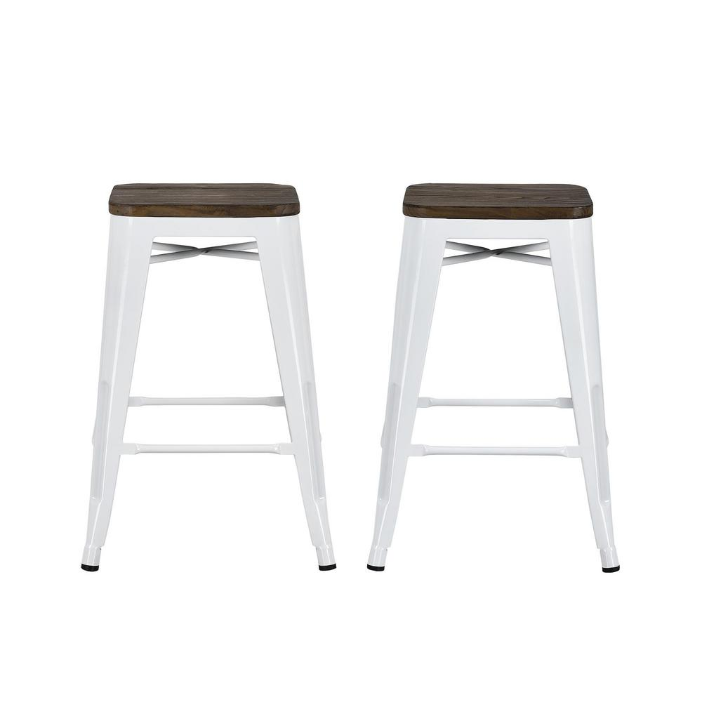 White Metal Counter Stool With Wood Seat Set Of 2