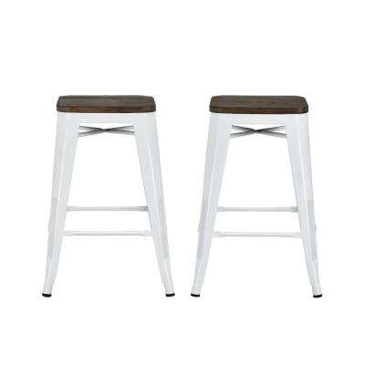 Astounding Penelope 24 In White Metal Counter Stool With Wood Seat Set Of 2 Creativecarmelina Interior Chair Design Creativecarmelinacom