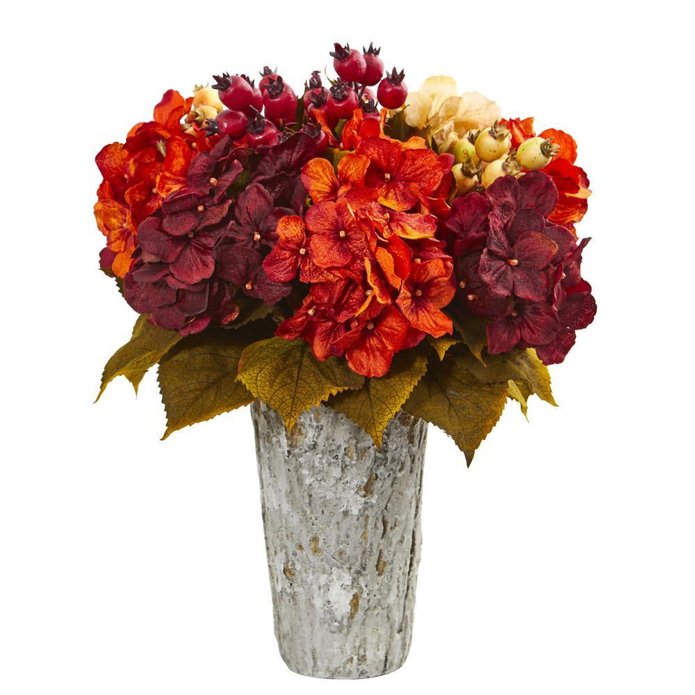 Indoor Autumn Hydrangea Berry Artificial Arrangement in Weather Planter