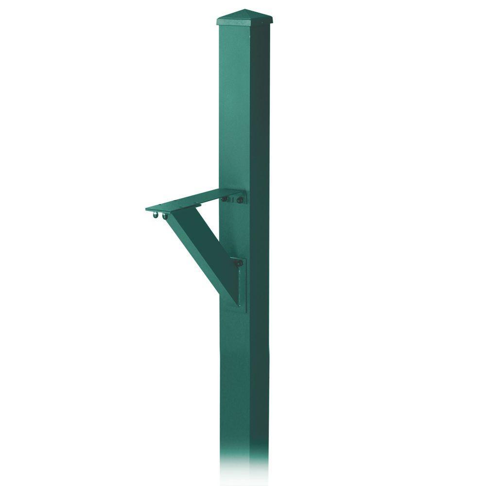 Salsbury Industries Modern In-Ground Mounted Decorative Mailbox Post in Green