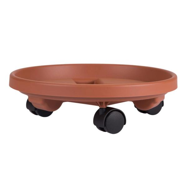 Caddy Round 16 in. Terra Cotta Plastic Plant Stand Caddy with Wheels