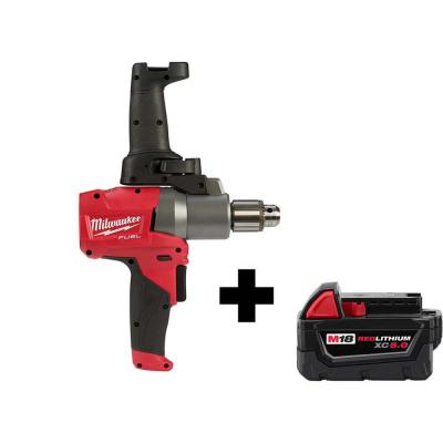 M18 FUEL 18-Volt Lithium-Ion Brushless Cordless 1/2 in. Mud Mixer with Free M18 5.0 Ah Battery