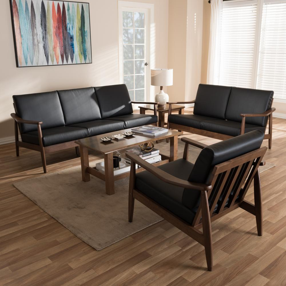 Baxton Studio Venza 3 Piece Black And Walnut Brown Living Room Set 7552 7554 Hd The Home Depot