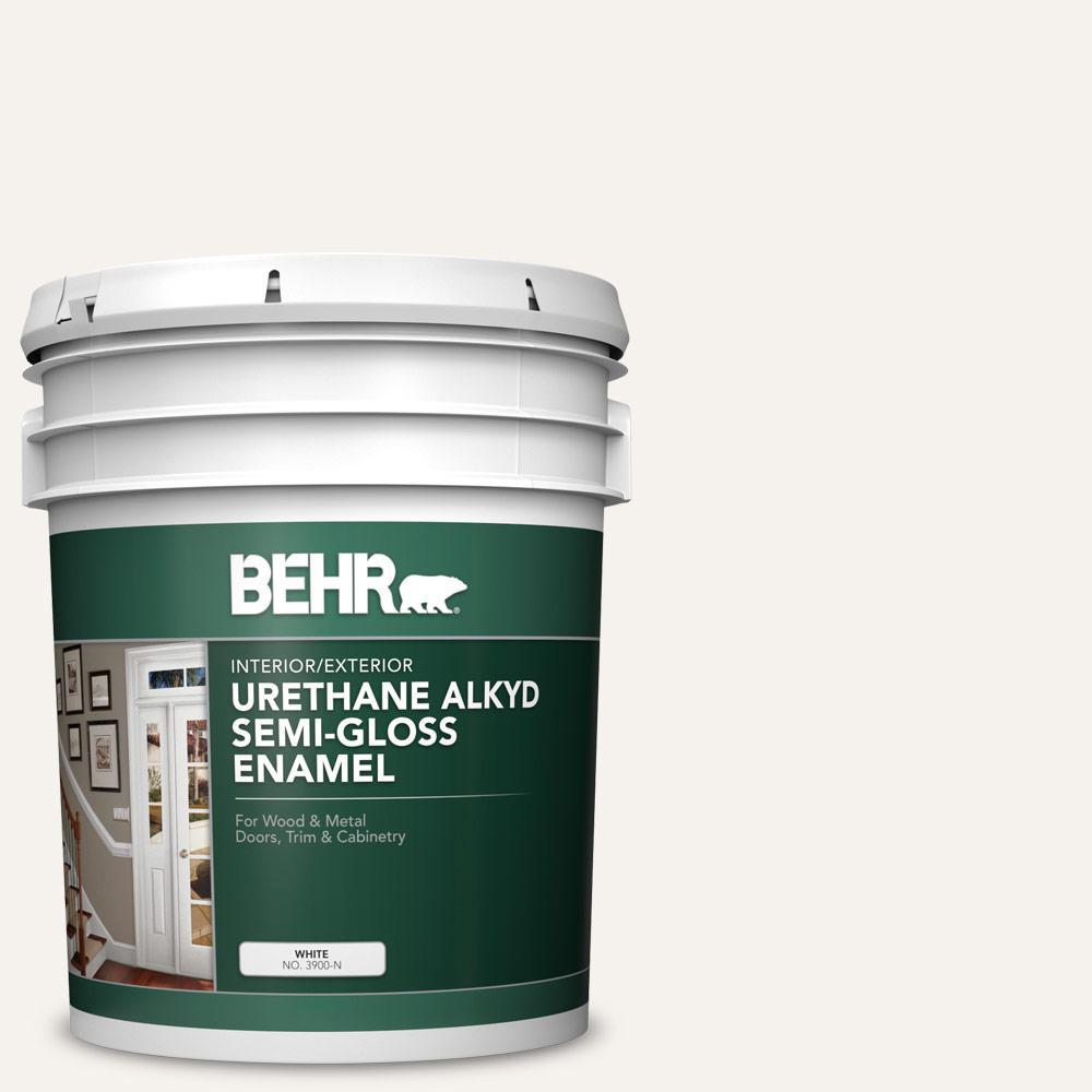 5 gal. #730A-1 Smart White Urethane Alkyd Semi-Gloss Enamel Interior/Exterior Paint