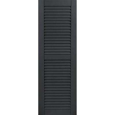 15 in. x 55 in. Exterior Composite Wood Louvered Shutters Pair Black